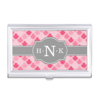 Girly Pink Scallop Pattern Grey Monogram Business Card Holders