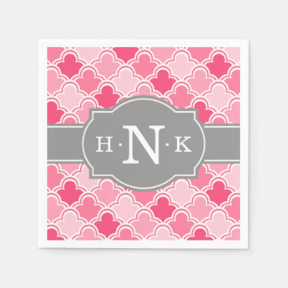 Girly Pink Scallop Pattern Grey Monogram Disposable Napkins