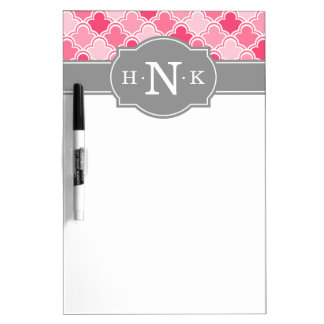 Girly Pink Scallop Pattern Grey Monogram Dry-Erase Whiteboards