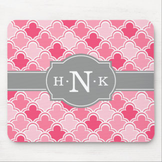 Girly Pink Scallop Pattern Grey Monogram Mouse Pad