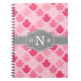 Girly Pink Scallop Pattern Grey Monogram Notebooks