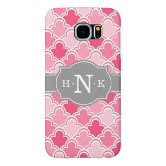 Girly Pink Scallop Pattern Grey Monogram Samsung Galaxy S6 Cases