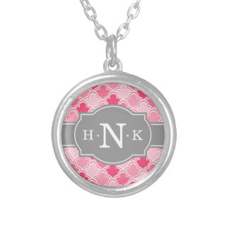 Girly Pink Scallop Pattern Grey Monogram Silver Plated Necklace