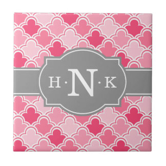Girly Pink Scallop Pattern Grey Monogram Small Square Tile