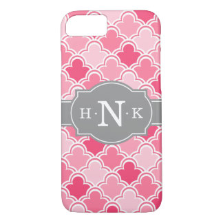 Girly Pink Scallop Pattern Grey Monogram Tile iPhone 7 Case