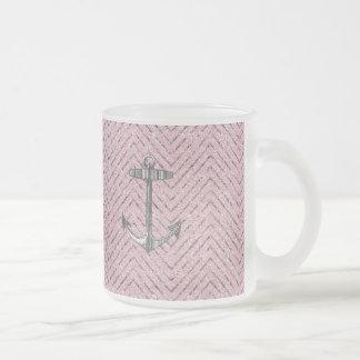 Girly Pink Silver Glitter Chevron Pattern Anchor Coffee Mugs