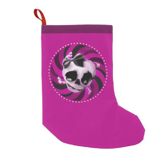 Girly Pink Skull with Black Bow Small Christmas Stocking