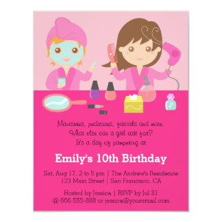 Girly Pink Spa Birthday Party Invitation