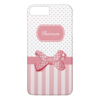 Girly Pink Stripes Cute Polka Dot Bow With Name iPhone 8 Plus/7 Plus Case