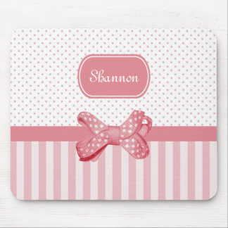 Girly Pink Stripes Cute Polka Dot Bow With Name Mouse Pad