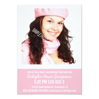 Girly Pink Sweet 16 Party with Photo Custom Invite
