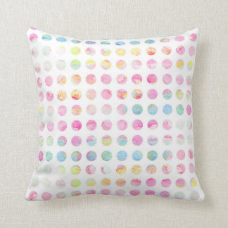 Girly pink teal blue watercolor polka dots pattern throw pillow
