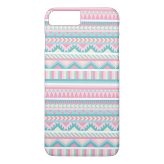 Girly Pink Teal Tribal Pattern iPhone 7 Plus Case