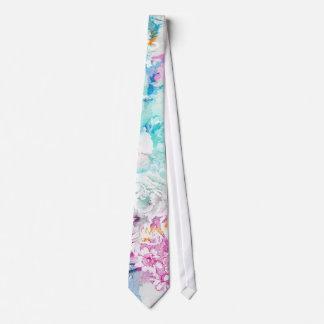 Girly pink teal watercolor vintage floral pattern tie