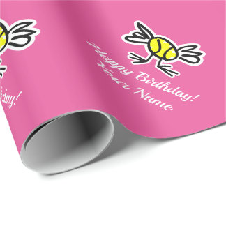 Girly pink tennis chick Birthday wrapping paper