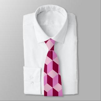 Girly Pink Tumbling Blocks Seamless Pattern Tie