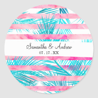 Girly pink turquoise palm tree watercolor stripes classic round sticker