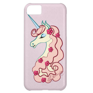 Girly Pink Unicorn With Flowers iPhone 5C Covers