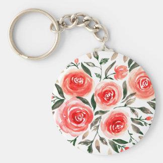 Girly Pink Watercolor Roses Illustration Key Ring