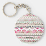 Girly Pink White Floral Abstract Aztec Pattern Basic Round Button Key Ring