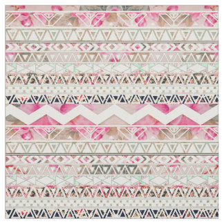 Girly Pink White Floral Abstract Aztec Pattern Fabric