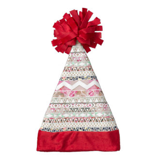 Girly Pink White Floral Abstract Aztec Pattern Santa Hat