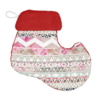Girly Pink White Floral Abstract Aztec Pattern Elf Christmas Stocking