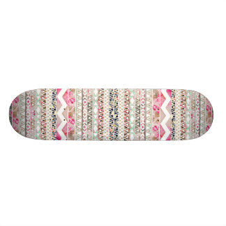 Girly Pink White Floral Abstract Aztec Pattern Skate Board Decks