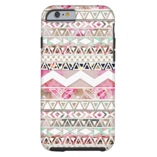 Girly Pink White Floral Abstract Aztec Pattern Tough iPhone 6 Case