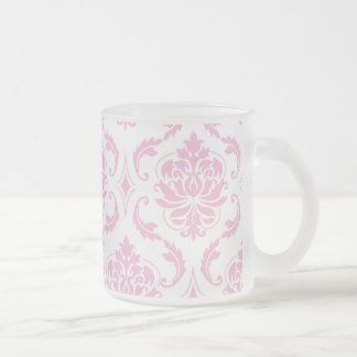 Girly Pink White Vintage Damask Pattern Frosted Glass Coffee Mug