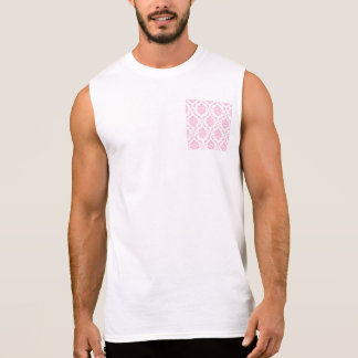 Girly Pink White Vintage Damask Pattern Sleeveless Shirts