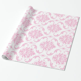 Girly Pink White Vintage Damask Pattern Wrapping Paper