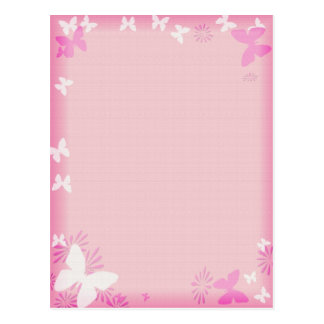 Girly pink with butterflies postcard