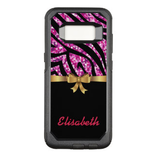 GIRLY PINK ZEBRA glitter black GOLD BOW monogram OtterBox Commuter Samsung Galaxy S8 Case