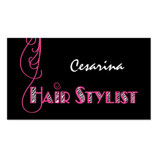 Girly Pink Zebra Hair Stylist Appointment Reminder Business Card