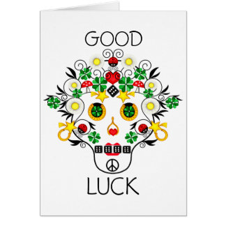 Girly Pirate Lucky Skull Card