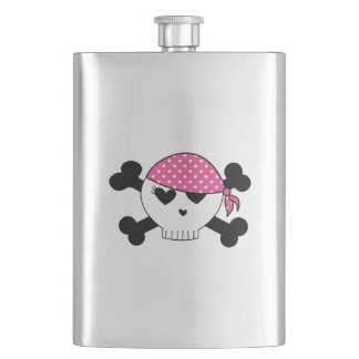 Girly Pirate Skull Hip Flask