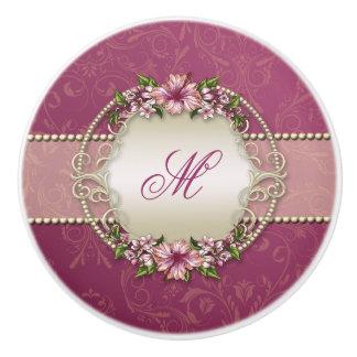 Girly Plum Floral and Damask Monogram Ceramic Knob