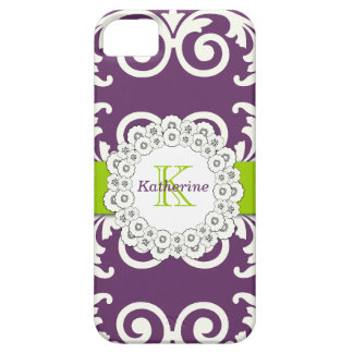 Girly Plum Purple Green Swirls Floral Pattern Case For The iPhone 5