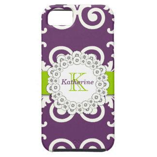 Girly Plum Purple Green Swirls Floral Pattern iPhone 5 Cases
