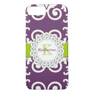 Girly Plum Purple Green Swirls Floral Pattern iPhone 7 Case