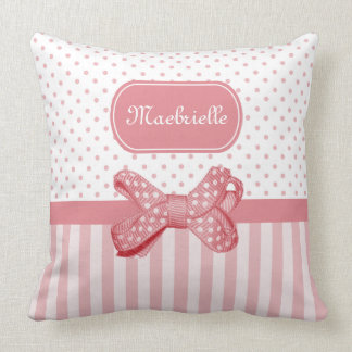 Girly Polka Dot Bow Cute Pink Stripes With Name Throw Pillow