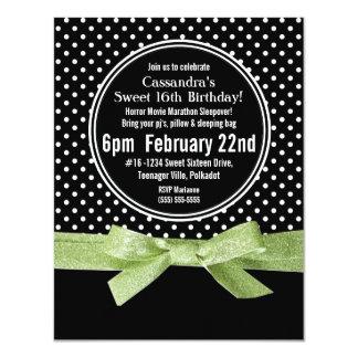 Girly Polka Dots Sweet 16 Lime Green Ribbon Card