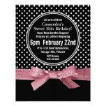 Girly Polka Dots Sweet 16 pink Ribbon Invitations
