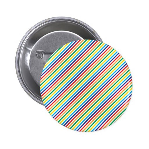 Girly Pretty Colorful Rainbow Diagonal Stripes Buttons