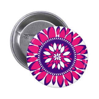 Girly Pretty Pink and Purple Flower Art Gifts Buttons