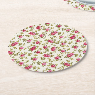 Girly Pretty Pink Floral Print Pattern Round Paper Coaster