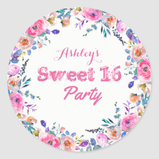 Girly Pretty Tropical Pink Flower Sweet 16 Classic Round Sticker