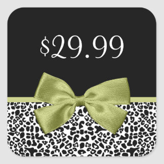 Girly Price Tags Leopard Print Stylish Green Bow Stickers