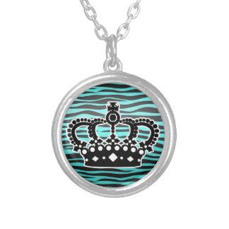 Girly princess aqua blue and black zebra print personalized necklace